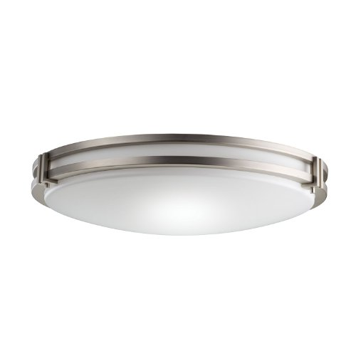 B001CAJEWC Kichler Lighting 10828NI 3-Light Fluorescent Flush Mount Ceiling Light, Brushed Nickel with White Acrylic Shade