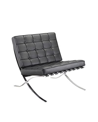 Meelano M331 Lounge Chair in Black Italian LeatherÊ