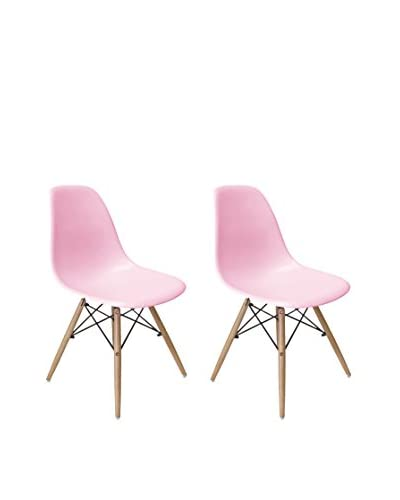Aeon Euro Home Collection Set of 2 Paris Side Chairs, Pink/Black/Natural