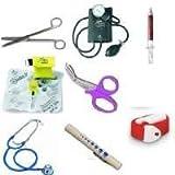 The Ultimate Quality Nurses 8 Piece Kit Includes Sphygmomanometer, Dualhead Stethoscope, Nursing Scissors, Penlight, Keyring Resus Mask, Tough Cut Scissors, Quick Release Tourniquet and a Groovy Pen