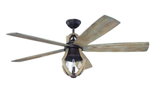 Craftmade WIN56ABZWP5 Winton Ceiling Fan with Weathered Pine Blades and Exposed Bulb Glass, Weathered Pine, 56