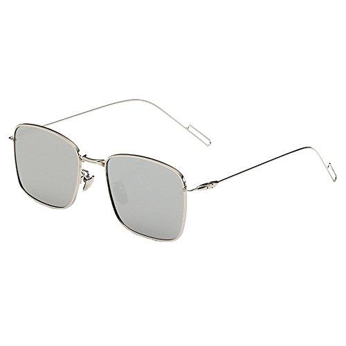 Vintage Wayfarer Occhiali da sole con protezione UV 400A Specchio quadrato, struttura in metallo e lenti polarizzate Clubmaster Occhiali-Donna Uomo nero Grey