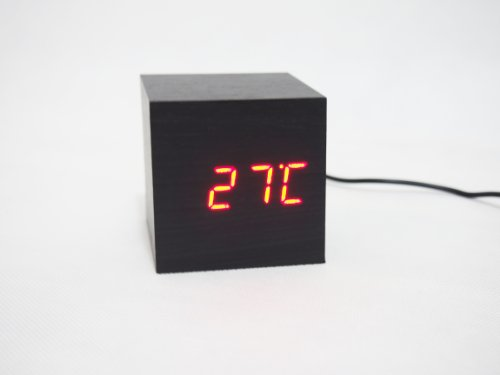 Forhome Mini Cube Clap-On Alarm Clock, Black Wood Red Led Light With Time, Date And Temperature Display