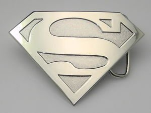 Silver New Silver Tone Superman Emblem Metal Belt Buckle