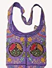 Purple Peace Signs Sequins Cotton Embroidery Bohemian / Hippie Sling Crossbody Bag India