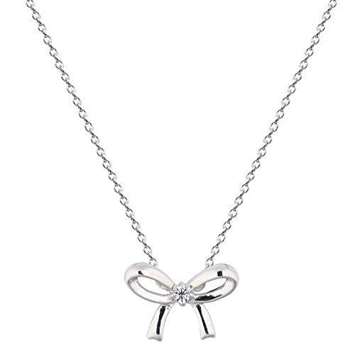 [ジュエリーキャッスル] Jewelry Castle ネックレス H&C CZダイヤモンド リボンペンダントネックレス プラチナ仕上