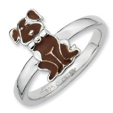 Hippest Silver Brown Enamel Dog Stackable Ring Band. Sizes 5-10 Available