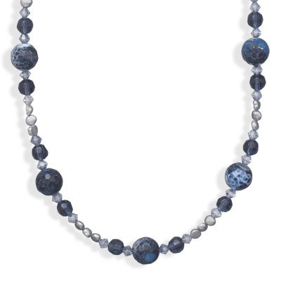 16 Inch+2 Inch Blue Fire Agate and Cultured Freshwater Pearl Necklace