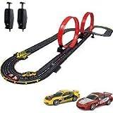 STUNT RACEWAY ELECTRIC POWER ROAD RACING SET SLOT CAR RACE TRACK WITH REMOTE CONTROLS PORSCHE SPORTS CARS