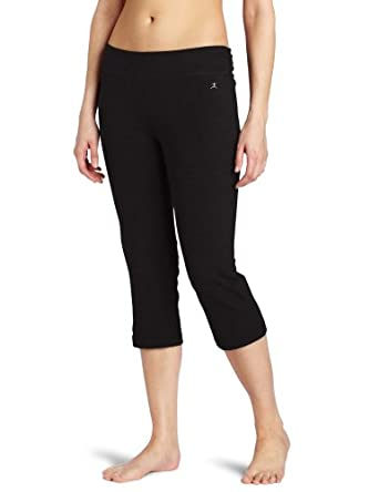 Danskin Women's Sleek Fit Crop Pant with Comfort Waistband, Rich Black, X-Large