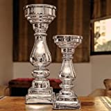 Glass Candle Stand - 2-Piece Set
