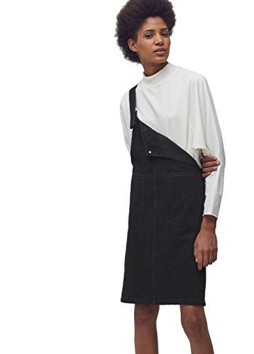 Mango Women's Black Denim Pinafore Dress, Black Denim, S