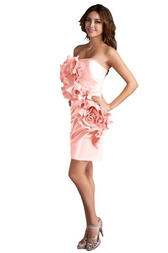 31V4gkK6CpL Sale off: Emma Y Lady Womens Strapless Handmade Flower Short Dress