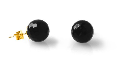 Black Faceted Onyx 10mm 9ct Gold Stud Earrings