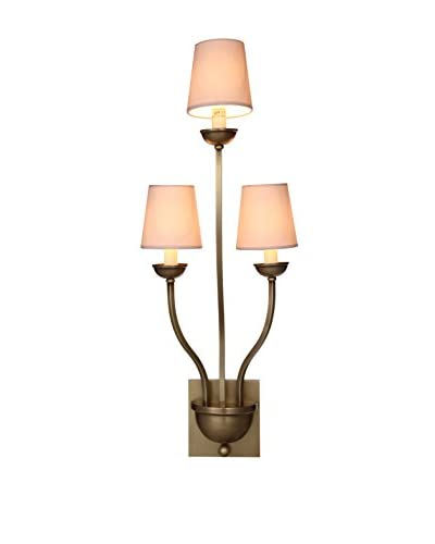Urban Lights Vineland 3-Light Wall Lamp, Burnished Brass