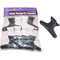 Large Butterfly Clamps * 12 Clips Per Bag * Black and White * 3 Wide