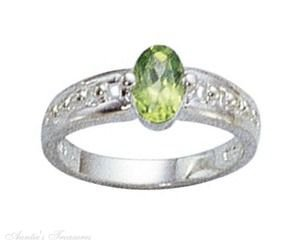 Sterling Silver Genuine Peridot Solitaire Ring Size 5