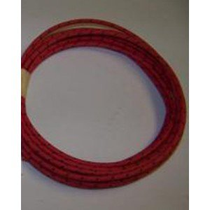 18 Ga Cotton Braided Wire, 10 Foot Section. Color: Red With Black Tracer