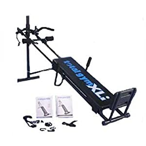 The Total Gym could be called a glideboard gym, because you perch on a board that glides up and down a pair of inclined rails. You control the glideboard's movement by pushing or pulling on handles attached to cables that run from the top of the glideboard, through pulleys at the top of the inclined rails and back down to your hands.
