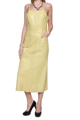 Cristiano di Thiene Damen Kleid Lederkleid MARMOLADA, Farbe: Gelb, Größe: 38