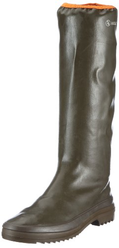 Aigle Women's Rubber Pack Khaki/Orange Wellingtons Boots 858874 4 UK, 37 EU