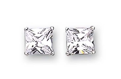 Strerling Silver Cubic Zirconia Stud Earrings 9mm Square