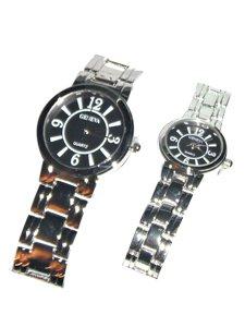 Geneva Black/Gold Platinum Watches His and Hers Set