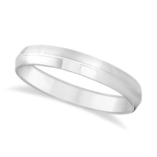 Knife Edge Wedding Ring Band Comfort-Fit 14K White Gold (4Mm)