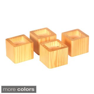 "Find Discount Wood Bed Lifters (Honey Oak) (4.25""D x 4.25""W x 3.43""H) Set of 4"