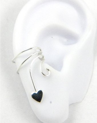 Sterling Silver Curly Q Small Flat Heart Ear Cuff Stamped Earring Right