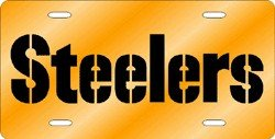 Pittsburgh Steelers Laser Cut Yellow License Plate at SteelerMania