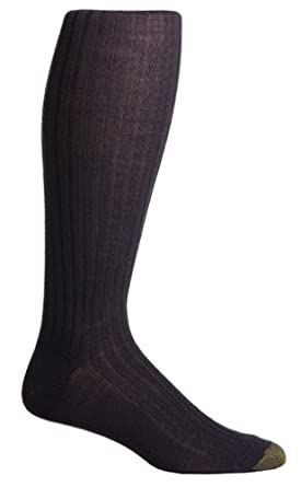 Gold Toe Men's Windsor Wool Over the Calf Dress Sock, Navy,  Size 6 - 12 1/2 - 3-Pack