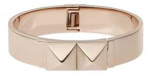 Michael Kors Mkj2910 Women'S Pyramid Rose Gold Tone Stainless Steel Bangle Bracelet Jewelry
