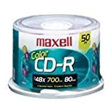 Maxell Cd-R Discs, 700Mb/80Min, 48X, Spindle, Assorted Colors, 50/Pack
