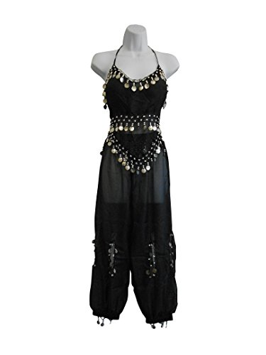 Professional Belly Dance Multi-Color Genie Halloween Costume Set w/ Silver Coins