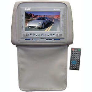 Black Friday PYLE PLD72TN Adjustable Headrests w/ Built-In 7'' TFT/LCD Monitor w/ Built in DVD Player & IR/FM Transmitter With Cover (Tan) Deals