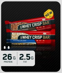 Optimum Nutrition 100% Whey Crisp Bar Double Rich Chocolate 12 Bars
