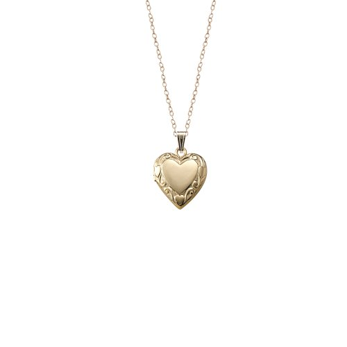 Children's 14k Gold-Filled Embossed Edge Heart Locket Necklace, 15