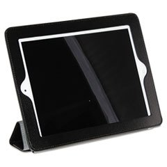 magnetic-rollback-ipad-cover-pebbled-faux-leather-black-gray-interior-sold-as-1-each