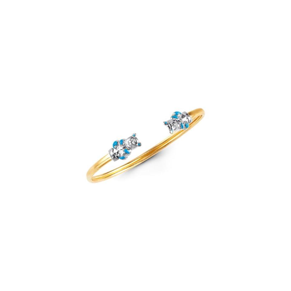 14k Yellow Gold Teddy Bear Baby Girl Bangle Bracelet