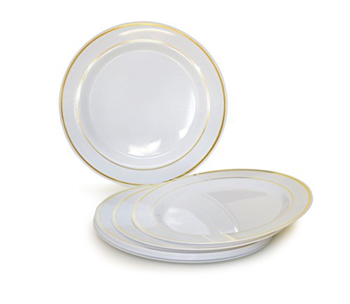 """OCCASIONS Disposable Plastic Plates, White with Gold Rim (120 pieces, 10.5"""" dinner plate)"""