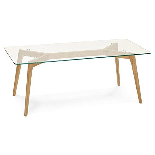 Mesa de centro rectangular estilo escandinavo HENNA en cristal y roble (transparente)