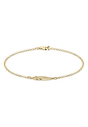 Elli Women 925 Sterling Silver Gold Plated Feather Bracelet of 18cm 202121216