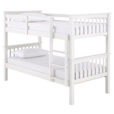 Novaro PINEWOOD White Bunk Bed, Two Sleeper, Quality Solid Pine Wood BUNK BED