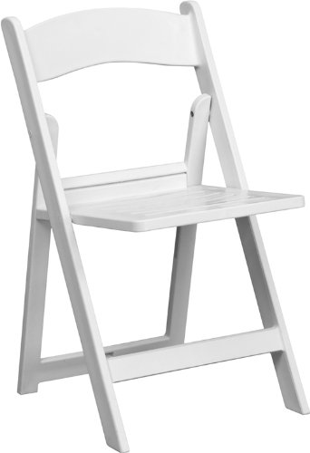 Flash Furniture LE-L-1-WH-SLAT-GG Hercules Series 1000-Pound White Resin Folding Chair with Slatted Seat