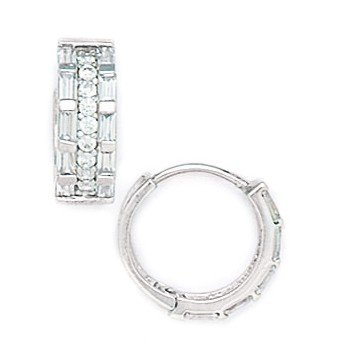 14ct White Gold Round CZ Medium Hinged Earrings - Measures 14x14mm