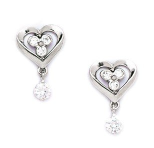 14ct White Gold CZ Heart Drop Screwback Earrings - Measures 13x8mm
