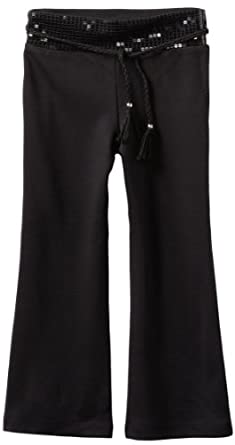 Amy Byer Little Girls' Belted Sequin Waistband Pant, Black, 4