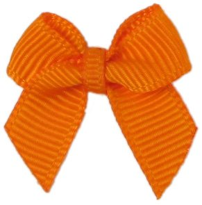 "HipGirl 20pc Applique Embellishment 1"" Grosgrain Ribbon Mini Bows for Your DIY Projects (20pc Mini Bows--Tangerine)"