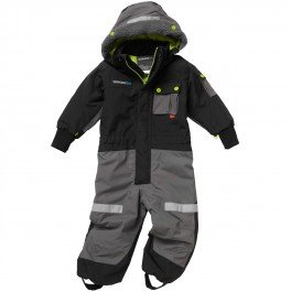 Childrens Didriksons Sutton Waterproof Lined Rain Suit Coverall Black/Granite